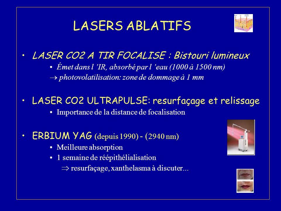 LASERS ABLATIFS LASER CO2 A TIR FOCALISE : Bistouri lumineux Émet dans l 'IR, absorbé par l 'eau (1000 à 1500 nm)  photovolatilisation: zone de domma