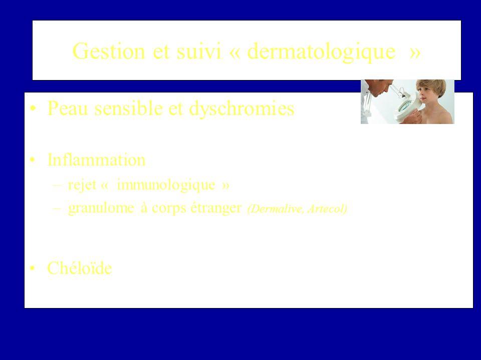 Gestion et suivi « dermatologique » Peau sensible et dyschromies –Cosmétique spécifique et photoprotection Inflammation –rejet « immunologique » –gran