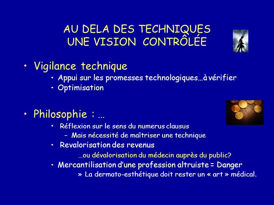 AU DELA DES TECHNIQUES UNE VISION CONTRÔLÉE Vigilance technique Appui sur les promesses technologiques…à vérifier Optimisation Philosophie :... Réflex