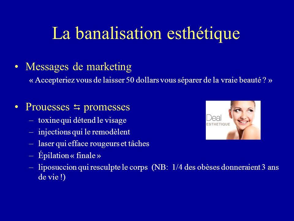 La banalisation esthétique Messages de marketing « Accepteriez vous de laisser 50 dollars vous séparer de la vraie beauté ? » Prouesses  promesses –t