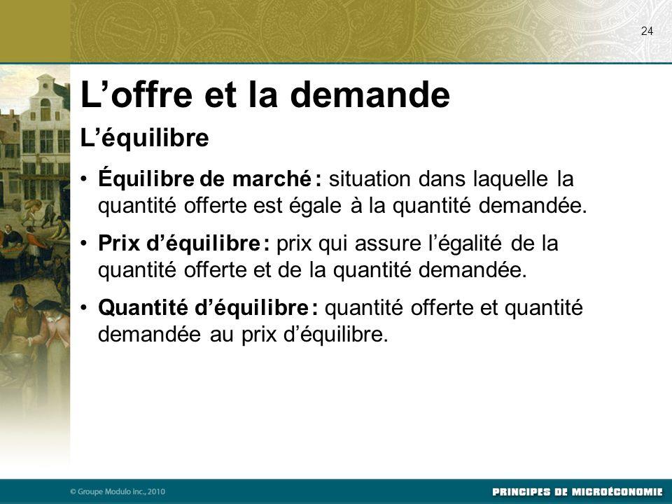 L'équilibre Équilibre de marché : situation dans laquelle la quantité offerte est égale à la quantité demandée.