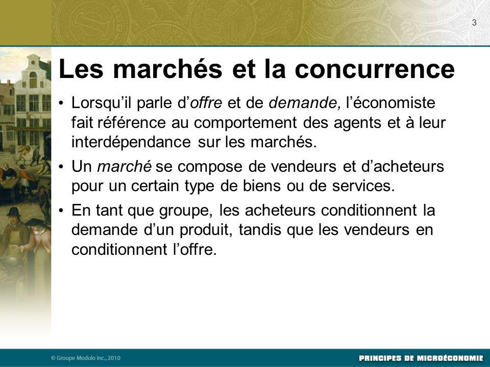 Les marchés et la concurrence Lorsqu'il parle d'offre et de demande, l'économiste fait référence au comportement des agents et à leur interdépendance sur les marchés.