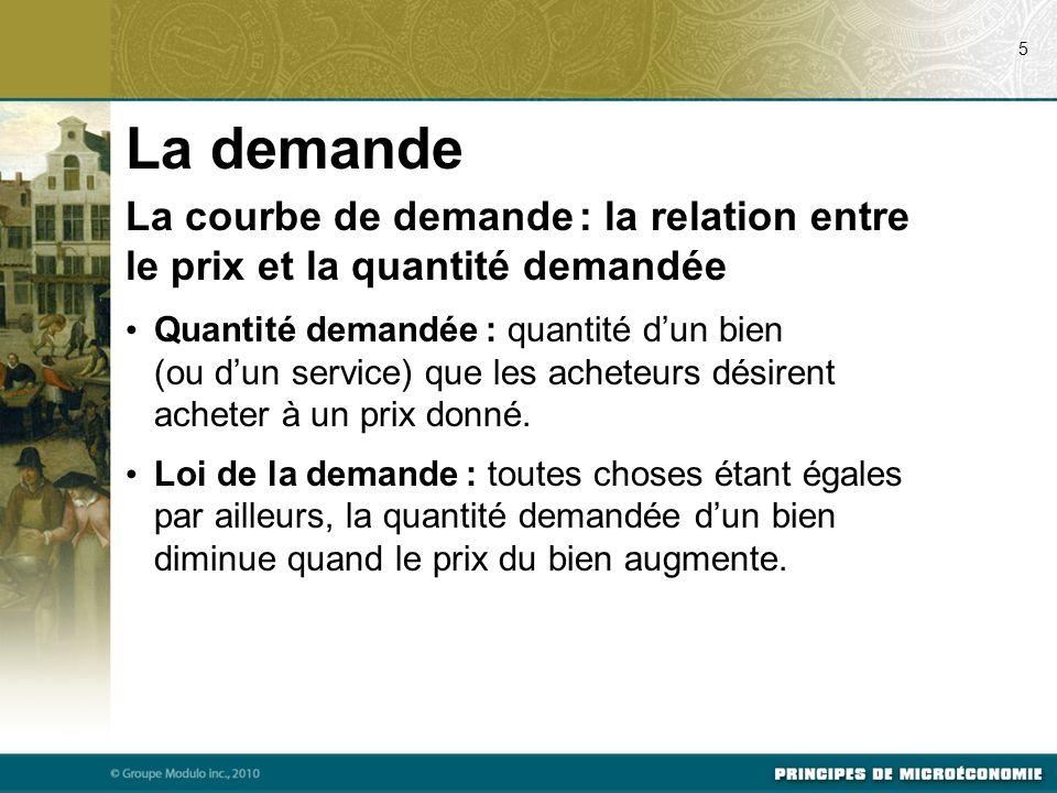 La demande La courbe de demande : la relation entre le prix et la quantité demandée Quantité demandée : quantité d'un bien (ou d'un service) que les acheteurs désirent acheter à un prix donné.