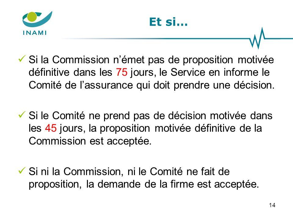 Et si… Si la Commission n'émet pas de proposition motivée définitive dans les 75 jours, le Service en informe le Comité de l'assurance qui doit prendr