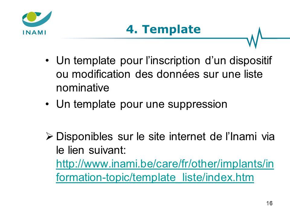4. Template Un template pour l'inscription d'un dispositif ou modification des données sur une liste nominative Un template pour une suppression  Dis