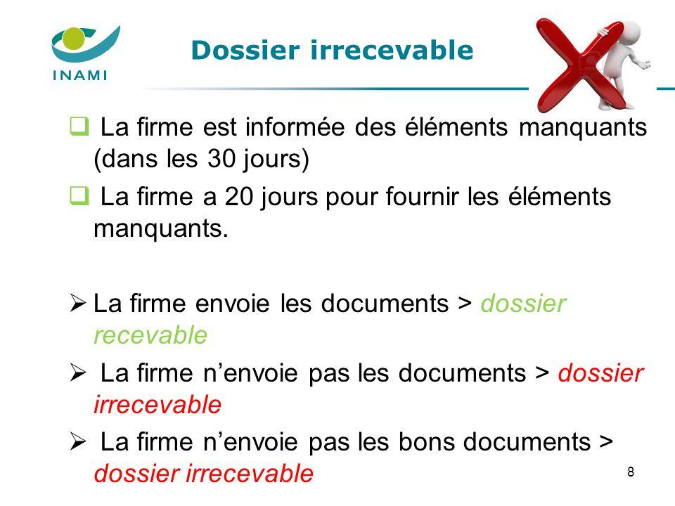 Dossier irrecevable  La firme est informée des éléments manquants (dans les 30 jours)  La firme a 20 jours pour fournir les éléments manquants.  La