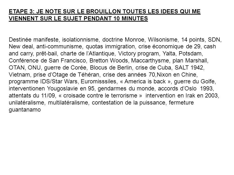 ETAPE 3: JE NOTE SUR LE BROUILLON TOUTES LES IDEES QUI ME VIENNENT SUR LE SUJET PENDANT 10 MINUTES Destinée manifeste, isolationnisme, doctrine Monroe