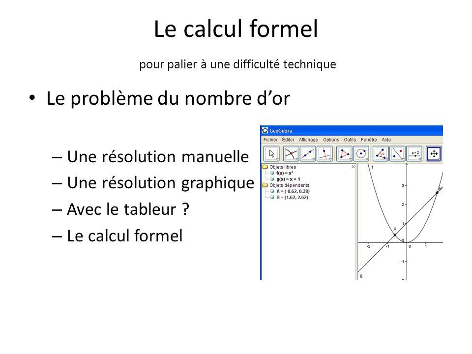 Le calcul formel pour palier à une difficulté technique Le problème du nombre d'or – Une résolution manuelle – Une résolution graphique – Avec le tabl