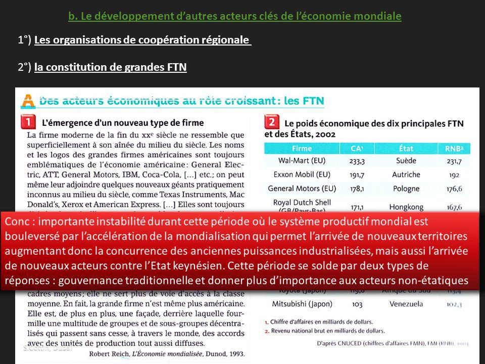 b. Le développement d'autres acteurs clés de l'économie mondiale 1°) Les organisations de coopération régionale 2°) la constitution de grandes FTN 3°)