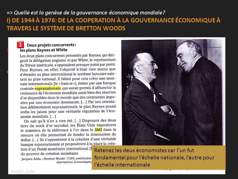 => Quelle est la genèse de la gouvernance économique mondiale? I) DE 1944 À 1976: DE LA COOPERATION À LA GOUVERNANCE ÉCONOMIQUE À TRAVERS LE SYSTÈME D