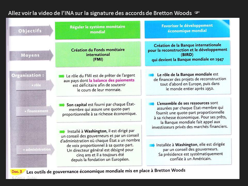 Allez voir la video de l'INA sur la signature des accords de Bretton Woods  http://www.ina.fr/video/I11052345 http://www.ina.fr/video/I11052345  doc
