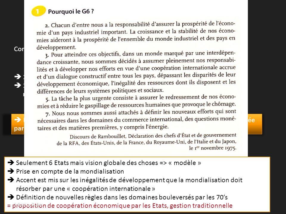 C) La fin des années 1960, l'effondrement d'un système Contexte économique, social et politique troublé  15/08/1971 : fin de la convertibilité du dol