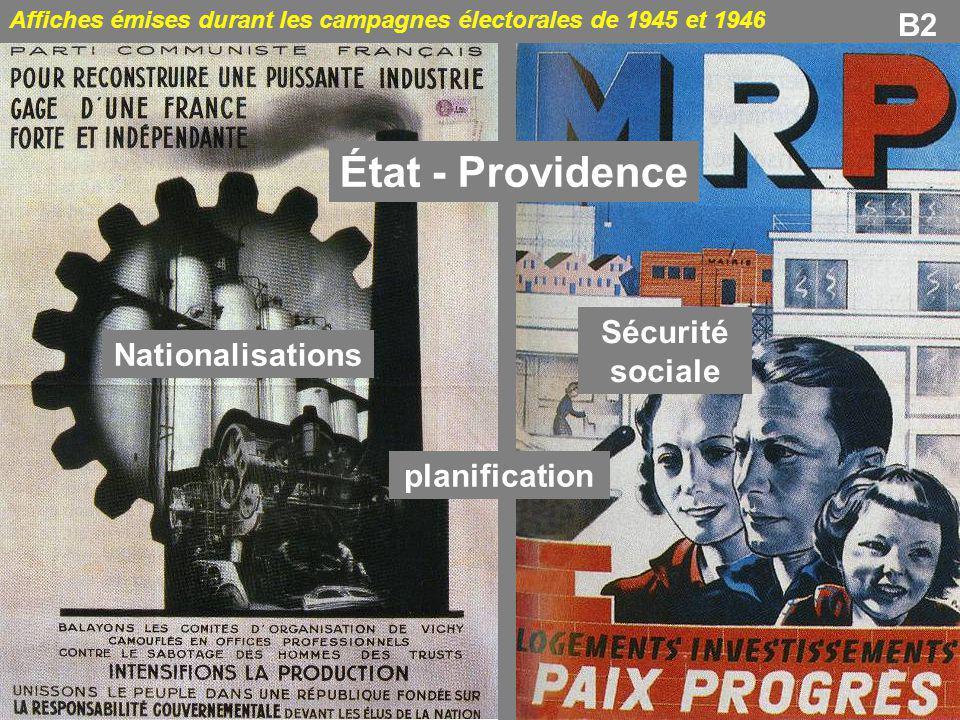 B2 Affiches émises durant les campagnes électorales de 1945 et 1946 État - Providence Nationalisations planification Sécurité sociale