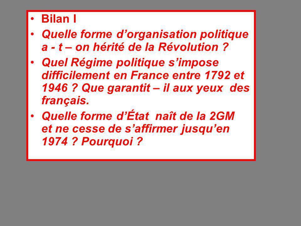 Bilan I Quelle forme d'organisation politique a - t – on hérité de la Révolution ? Quel Régime politique s'impose difficilement en France entre 1792 e