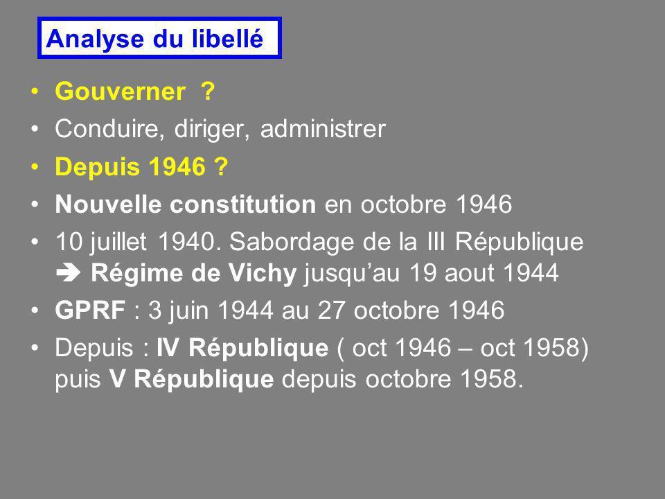 Gouverner ? Conduire, diriger, administrer Depuis 1946 ? Nouvelle constitution en octobre 1946 10 juillet 1940. Sabordage de la III République  Régim