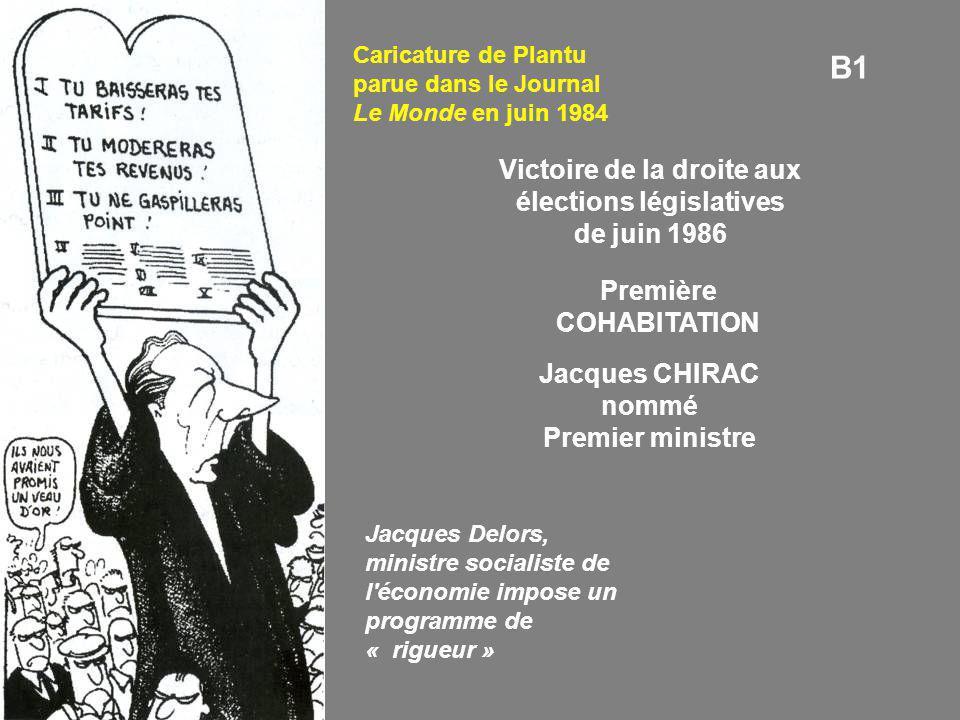 B1 Caricature de Plantu parue dans le Journal Le Monde en juin 1984 Victoire de la droite aux élections législatives de juin 1986 Première COHABITATIO