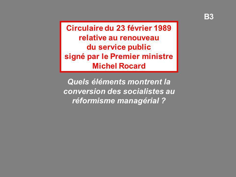 Circulaire du 23 février 1989 relative au renouveau du service public signé par le Premier ministre Michel Rocard Quels éléments montrent la conversio