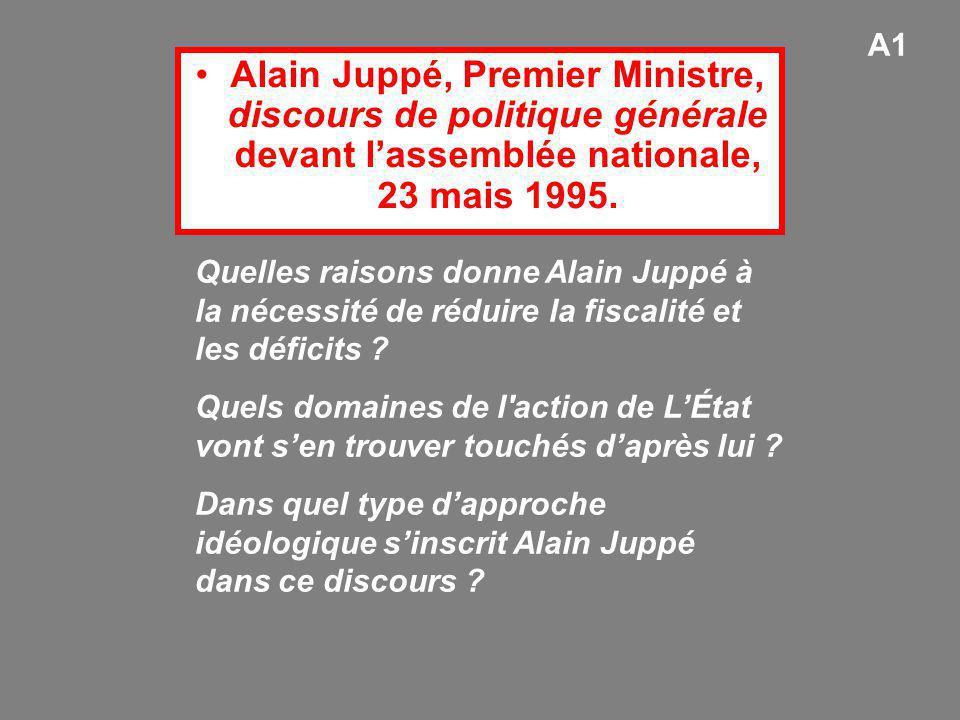 Alain Juppé, Premier Ministre, discours de politique générale devant l'assemblée nationale, 23 mais 1995. Quelles raisons donne Alain Juppé à la néces