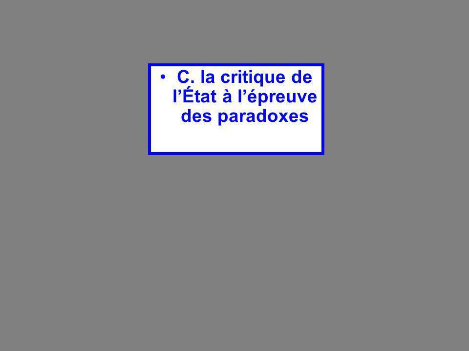 C. la critique de l'État à l'épreuve des paradoxes