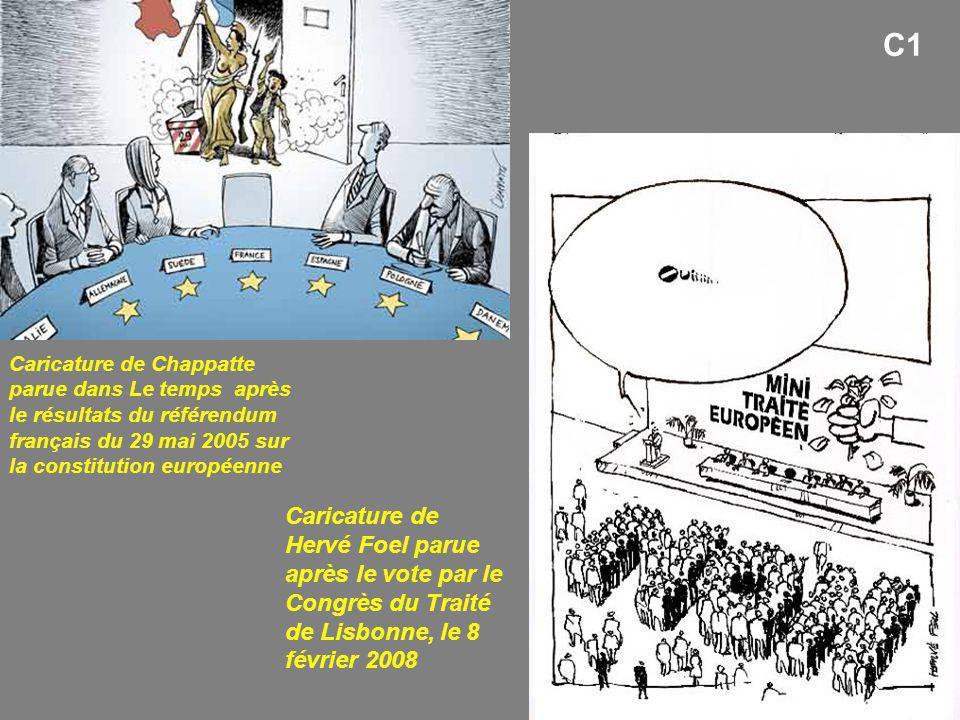 C1 Caricature de Chappatte parue dans Le temps après le résultats du référendum français du 29 mai 2005 sur la constitution européenne Caricature de H