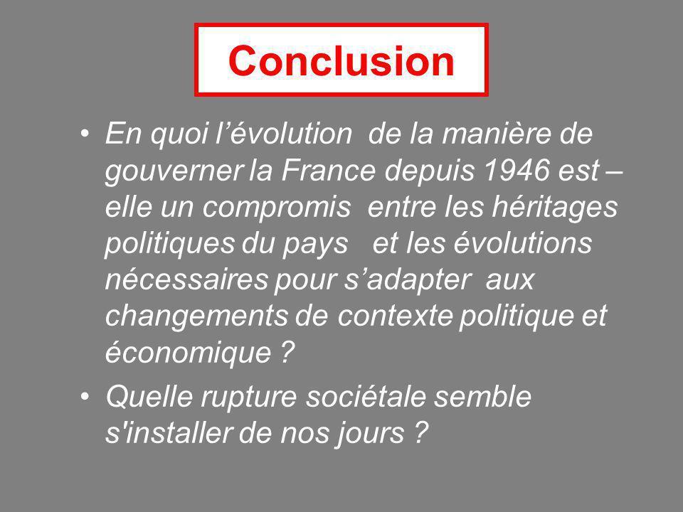 Conclusion En quoi l'évolution de la manière de gouverner la France depuis 1946 est – elle un compromis entre les héritages politiques du pays et les