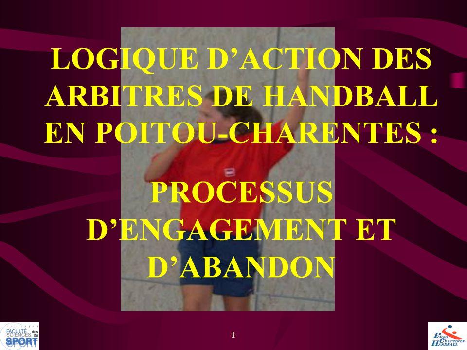 1 LOGIQUE D'ACTION DES ARBITRES DE HANDBALL EN POITOU-CHARENTES : PROCESSUS D'ENGAGEMENT ET D'ABANDON