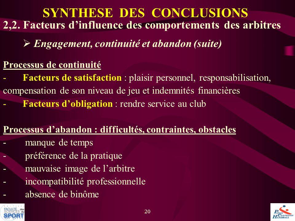 20 2,2. Facteurs d'influence des comportements des arbitres  Engagement, continuité et abandon (suite) Processus de continuité -Facteurs de satisfact