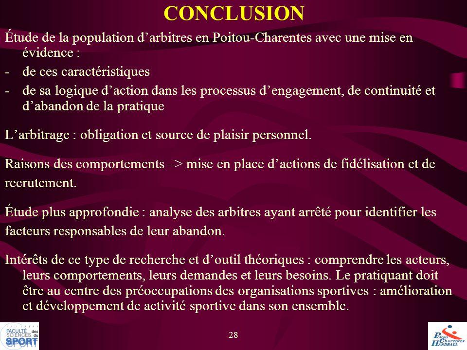 28 Étude de la population d'arbitres en Poitou-Charentes avec une mise en évidence : -de ces caractéristiques -de sa logique d'action dans les process