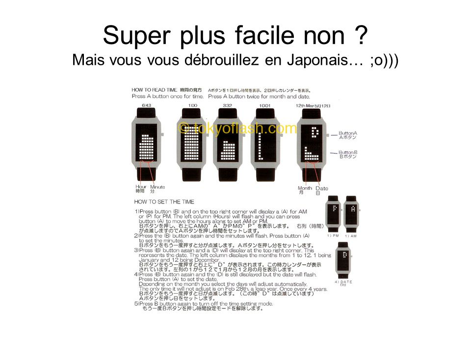 Super plus facile non ? Mais vous vous débrouillez en Japonais… ;o)))