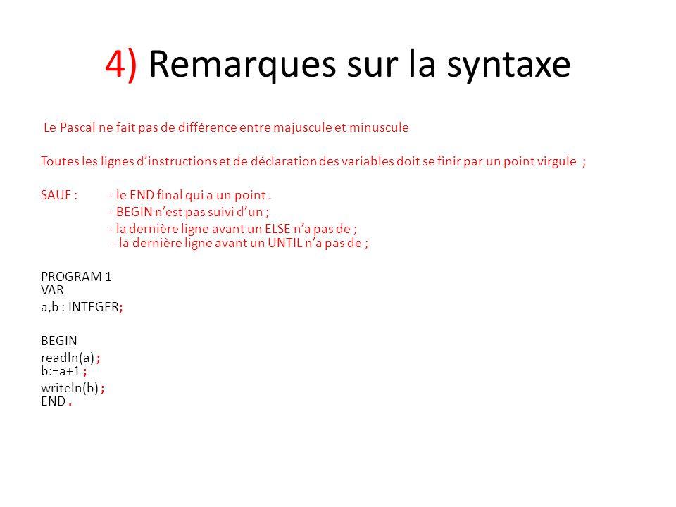 4) Remarques sur la syntaxe Le Pascal ne fait pas de différence entre majuscule et minuscule Toutes les lignes d'instructions et de déclaration des va