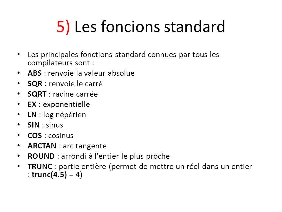 5) Les foncions standard Les principales fonctions standard connues par tous les compilateurs sont : ABS : renvoie la valeur absolue SQR : renvoie le