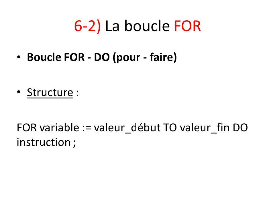 6-2) La boucle FOR Boucle FOR - DO (pour - faire) Structure : FOR variable := valeur_début TO valeur_fin DO instruction ;