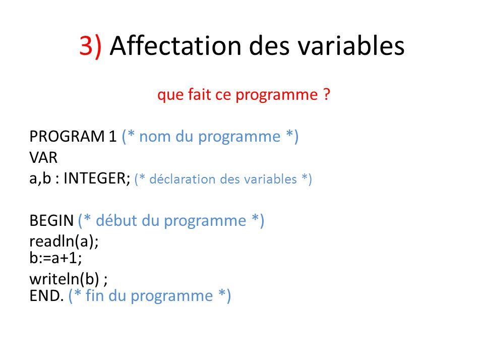 3) Affectation des variables que fait ce programme ? PROGRAM 1 (* nom du programme *) VAR a,b : INTEGER; (* déclaration des variables *) BEGIN (* débu