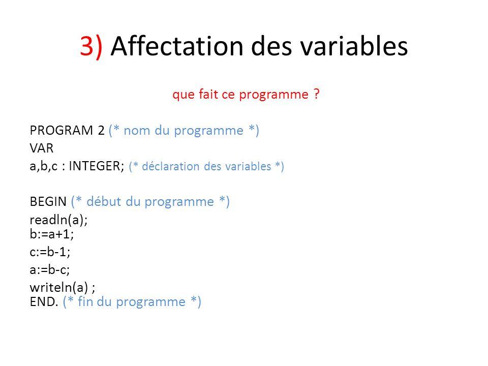 3) Affectation des variables que fait ce programme ? PROGRAM 2 (* nom du programme *) VAR a,b,c : INTEGER; (* déclaration des variables *) BEGIN (* dé