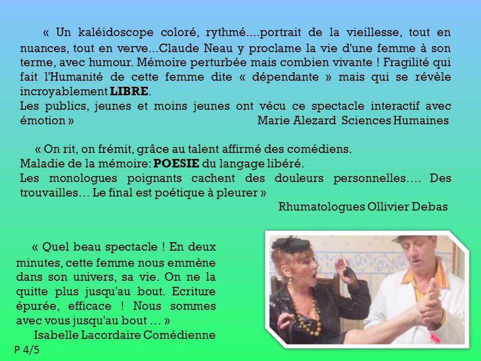 Analytique Personnel : 2 comédiens Décor : 1 fauteuil 1 table Son : 1 diffusion Eclairage : si besoin Espace de jeu : 6m² Jauge : 100 CONTACTS Claude Neau : Tel : 06 85 04 85 49 - 01 34 72 96 02 57 rue du galion 95380 Puiseux en France Mail : coconeau@free.frcoconeau@free.fr Pierre Renou Tel : 06 86 80 47 06 Mail : pierenou@gmail.compierenou@gmail.com Thématiques culturelles : L'inter-génération.