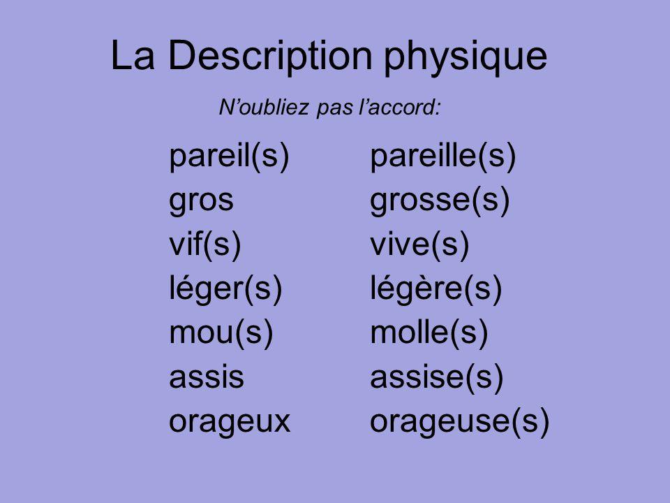 pareil(s)pareille(s) grosgrosse(s) vif(s)vive(s) léger(s)légère(s) mou(s)molle(s) assisassise(s) orageuxorageuse(s) La Description physique N'oubliez