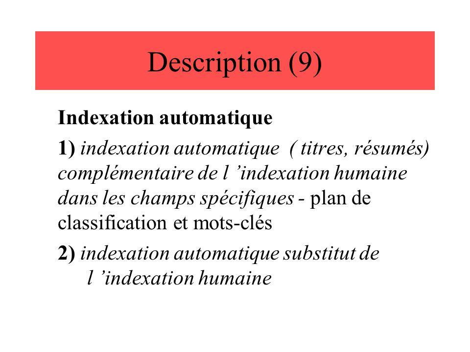 Description (9) Indexation automatique 1) indexation automatique ( titres, résumés) complémentaire de l 'indexation humaine dans les champs spécifique