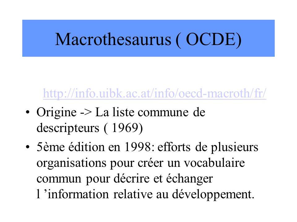 Macrothesaurus ( OCDE) http://info.uibk.ac.at/info/oecd-macroth/fr/ Origine -> La liste commune de descripteurs ( 1969) 5ème édition en 1998: efforts