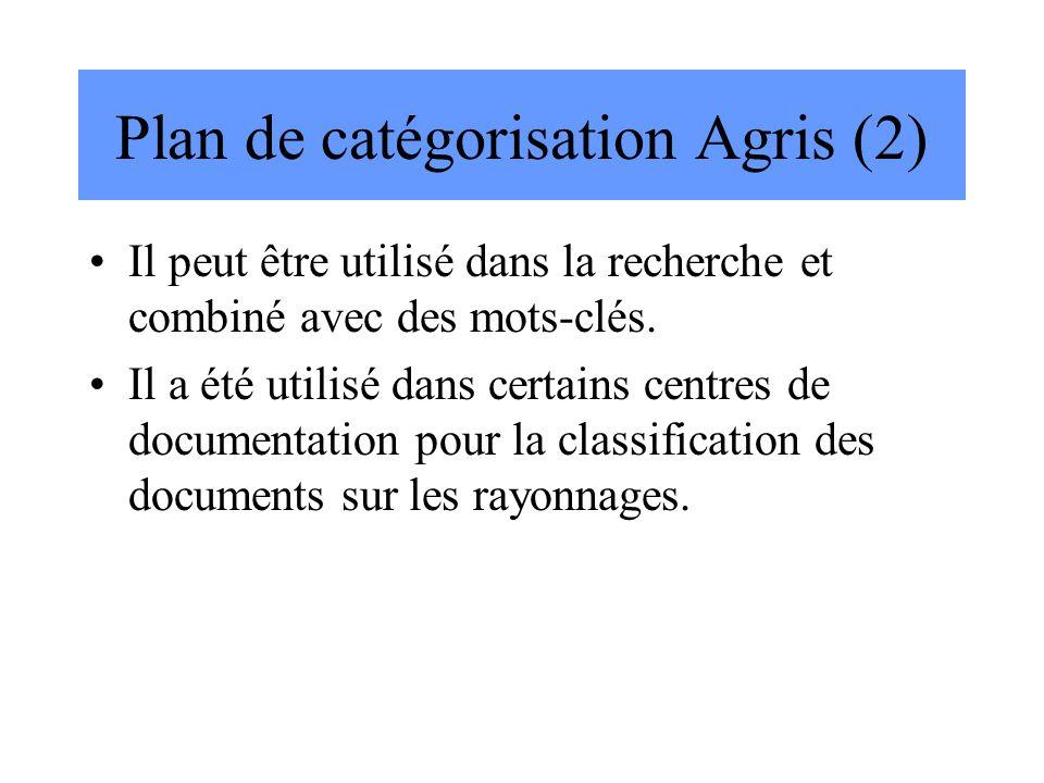 Plan de catégorisation Agris (2) Il peut être utilisé dans la recherche et combiné avec des mots-clés. Il a été utilisé dans certains centres de docum