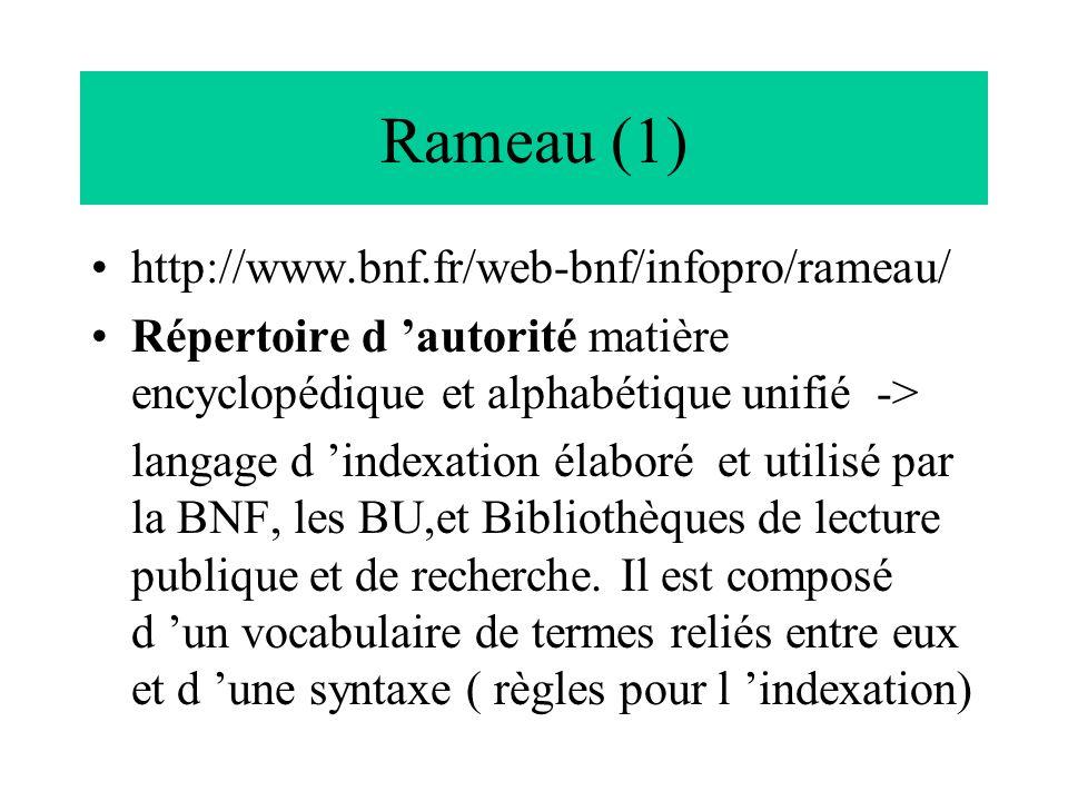 Rameau (1) http://www.bnf.fr/web-bnf/infopro/rameau/ Répertoire d 'autorité matière encyclopédique et alphabétique unifié -> langage d 'indexation éla