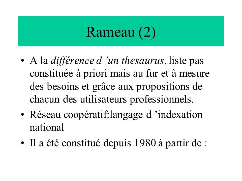Rameau (2) A la différence d 'un thesaurus, liste pas constituée à priori mais au fur et à mesure des besoins et grâce aux propositions de chacun des