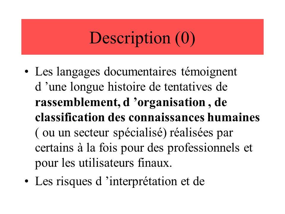 Description (0) Les langages documentaires témoignent d 'une longue histoire de tentatives de rassemblement, d 'organisation, de classification des co