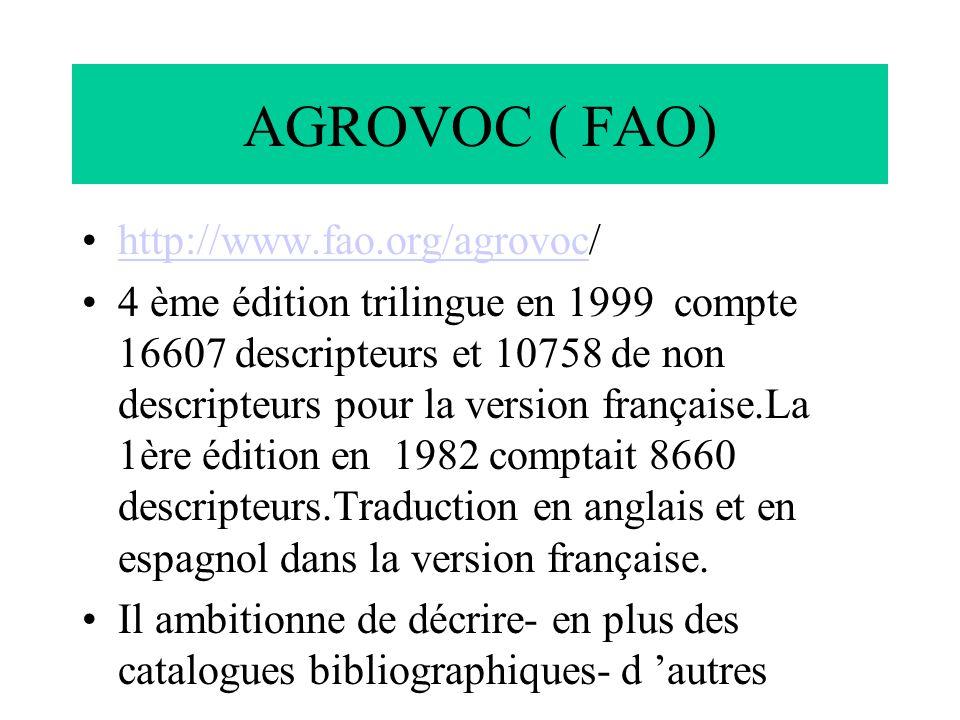 AGROVOC ( FAO) http://www.fao.org/agrovoc/http://www.fao.org/agrovoc 4 ème édition trilingue en 1999 compte 16607 descripteurs et 10758 de non descrip