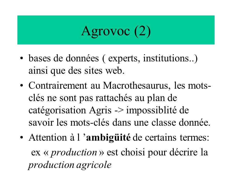 Agrovoc (2) bases de données ( experts, institutions..) ainsi que des sites web. Contrairement au Macrothesaurus, les mots- clés ne sont pas rattachés