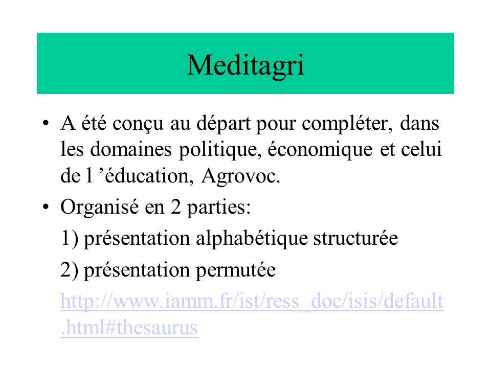 Meditagri A été conçu au départ pour compléter, dans les domaines politique, économique et celui de l 'éducation, Agrovoc. Organisé en 2 parties: 1) p