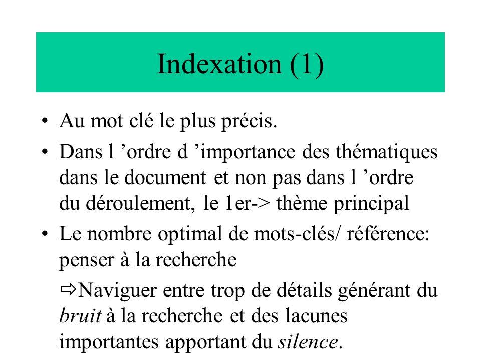 Indexation (1) Au mot clé le plus précis. Dans l 'ordre d 'importance des thématiques dans le document et non pas dans l 'ordre du déroulement, le 1er