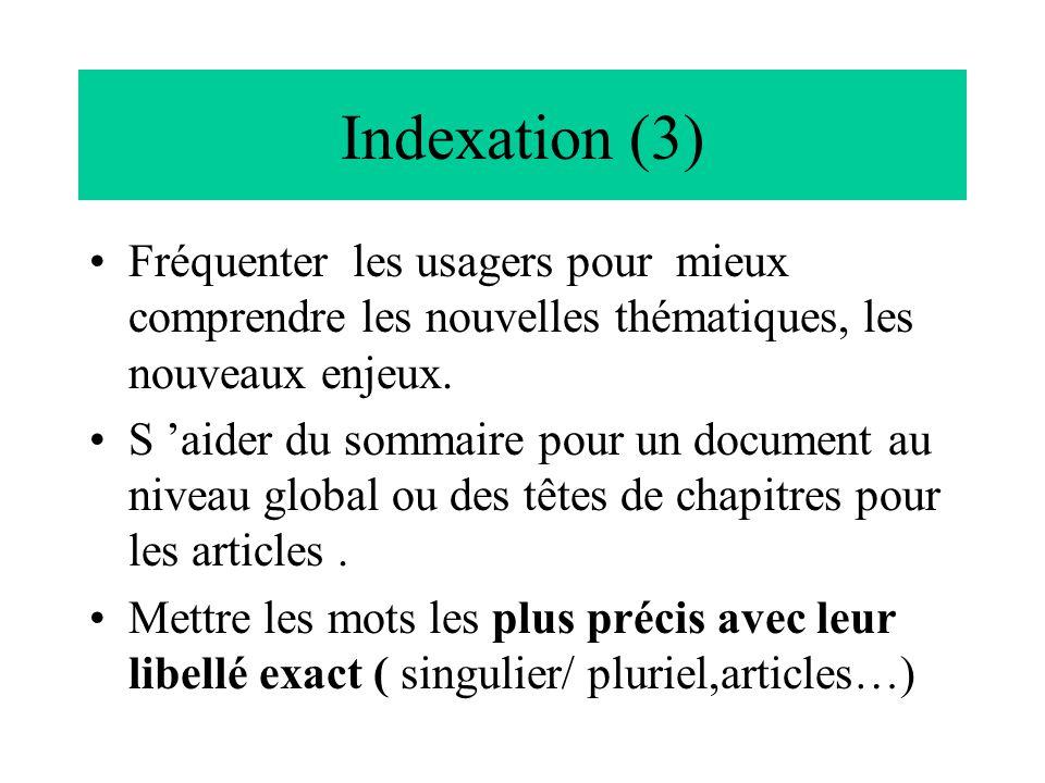 Indexation (3) Fréquenter les usagers pour mieux comprendre les nouvelles thématiques, les nouveaux enjeux. S 'aider du sommaire pour un document au n