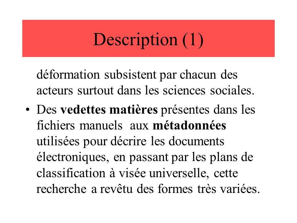 Description (1) déformation subsistent par chacun des acteurs surtout dans les sciences sociales. Des vedettes matières présentes dans les fichiers ma