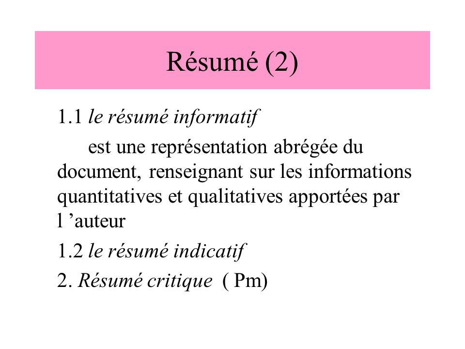Résumé (2) 1.1 le résumé informatif est une représentation abrégée du document, renseignant sur les informations quantitatives et qualitatives apporté