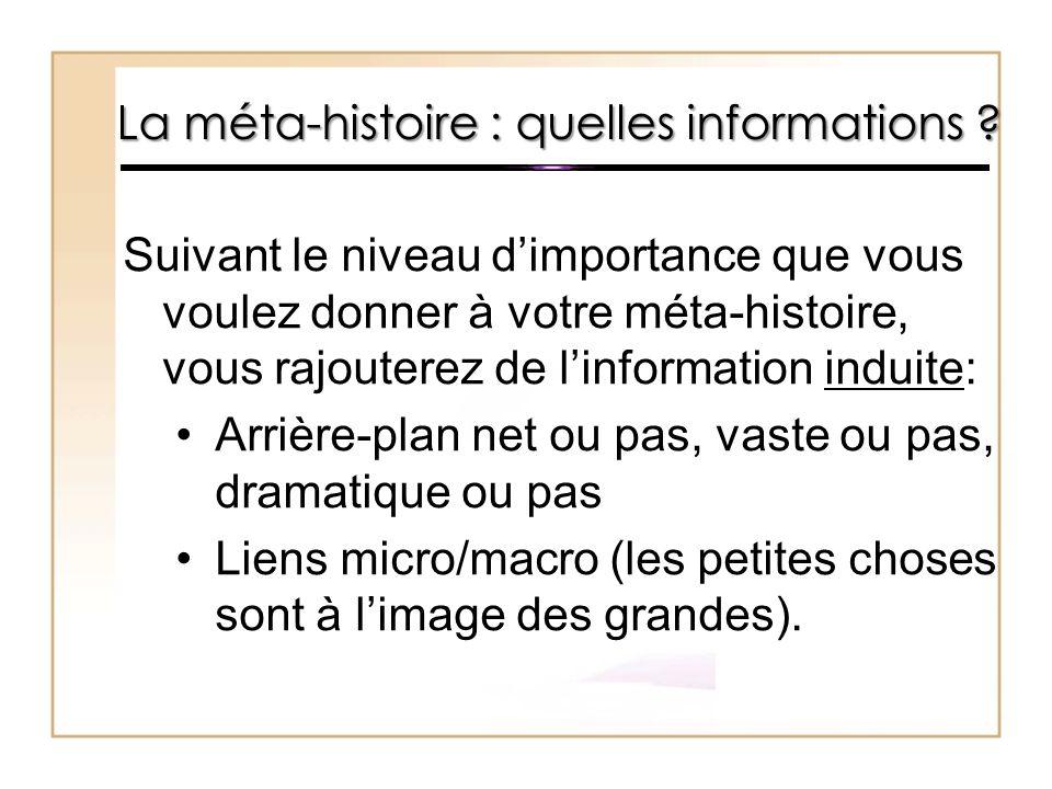 La méta-histoire : quelles informations ? Suivant le niveau d'importance que vous voulez donner à votre méta-histoire, vous rajouterez de l'informatio